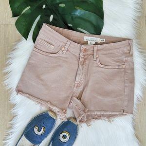 H&M frayed powder pink jean shorts, NWT